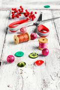 Set of tools needlework - stock photo