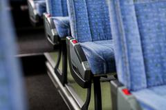 Travel bus interior and seats Stock Photos