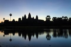 Angkor Wat temple at sunrise in Siem Reap Stock Photos