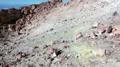 Caldela of the Teide volcano with colorful rocks inside. Tenerife, Canary Stock Footage