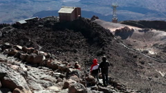 View at the upper station of cable car. Trail among hardened lava flows, Teide Stock Footage