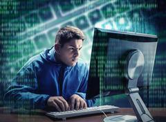 Hacker in the office Kuvituskuvat