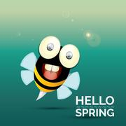 Hello spring . cartoon cute bright baby bee - stock illustration