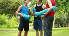 Athletic group with fitness mat Stock Footage