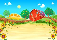 Stock Illustration of Funny landscape with the farm and sunflowers