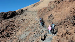 Beginning of route No. 10 (Telesforo Bravo) to the crater of Teide, Tenerife - stock footage
