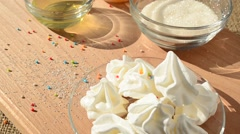 Cake of meringue and components. Stock Footage