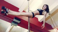Pole Dance Young Pretty Girl Tatooed Slim Beauty Sexy Mirrow Studio Stock Footage