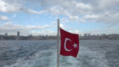 Crossing over the Bosphorus Strait in Istanbul Stock Footage