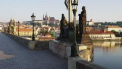 Charles Bridge Castle Statue Rising - 4k Stock Footage