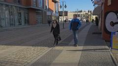 Valentine's Day in Opole People Walk by Ozimska Street Opole University Stock Footage