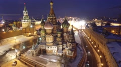 Fast approach to St. Basil's Cathedral and Red square, frozen WINTER Moscow Stock Footage