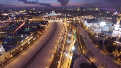 Unique night shot of Moscow Kremlin from above, Beautiful frozen WINTER city Stock Footage