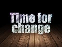 Timeline concept: Time for Change in grunge dark room - stock illustration