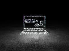 News concept: Breaking News On Laptop in grunge dark room - stock illustration