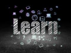 Education concept: Learn in grunge dark room - stock illustration