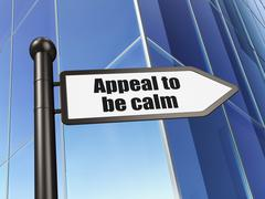 Political concept: sign Appeal To Be Calm on Building background - stock illustration