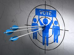 Politics concept: arrows in Election Campaign target on wall background - stock illustration