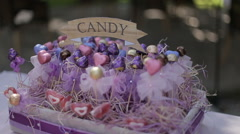 Candy bar and colorful candies Stock Footage