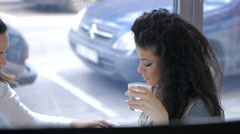 Beautiful black hair girl in caffe bar Stock Footage