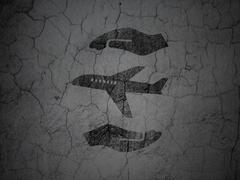 Insurance concept: Airplane And Palm on grunge wall background Stock Illustration