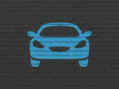 Vacation concept: Car on wall background - stock illustration