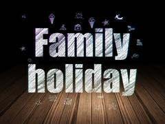 Vacation concept: Family Holiday in grunge dark room Stock Illustration
