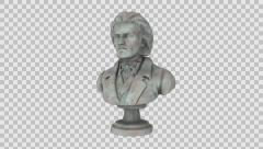 Marble Bust of Ludwig Beethoven at Spinning Loop with Alpha Channel Stock Footage