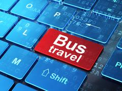 Vacation concept: Bus Travel on computer keyboard background - stock illustration