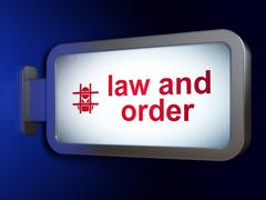 Law concept: Law And Order and Criminal on billboard background Stock Illustration