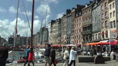 Port harbour waterfront tourists Stock Footage