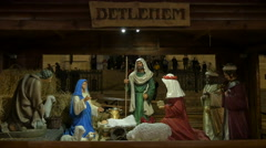 Nativity scene seen at Christmas in St Stephen's Square, Budapest Stock Footage