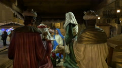 Nativity scene displayed at Christmas in St Stephen's Square, Budapest Stock Footage