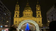 Night view of St. Stephen's Basilica seen on Christmas in Budapest Stock Footage