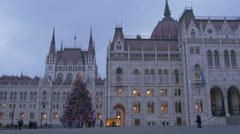 Christmas tree seen near the Hungarian Parliament Building in Budapest Stock Footage
