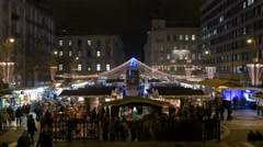 Night view of a Christmas market in St Stephen's Square in Budapest Stock Footage