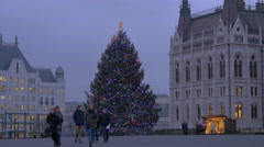 Friends taking pictures near a Christmas tree at Christmas in Budapest Stock Footage