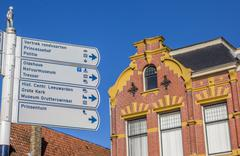 Tourist sign in the historical center of Leeuwarden - stock photo