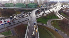 Aerial View of Moscow Road Junction Highway Cars Trafic Spring Autumn - stock footage