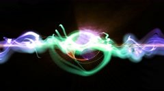 Abstract motion shining lights sound waves energy in disco dance loop background Stock Footage