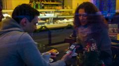 friends talk in cafe - stock footage