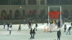 People ice skating on Christmas in the City Park of Budapest Stock Footage