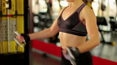 Strong lady working hard in the gym to achieve success at sports competition Stock Footage