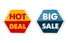 Hot deal and big sale in grunge flat design hexagons labels Stock Illustration