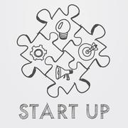 start up and business concept signs in puzzle pieces - stock illustration