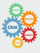 CRM and business concept words in grunge flat design gears Stock Illustration