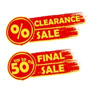 clearance and final sale with percent and 50 percentage signs, drawn labels - stock illustration