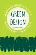 green design in circle over green old paper background - stock illustration
