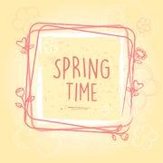 spring time in frame with flowers and hearts, old paper background - stock illustration