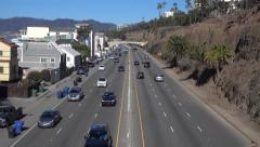 Aerial Pacific Coast Highway Near Santa Monica Beach - stock footage